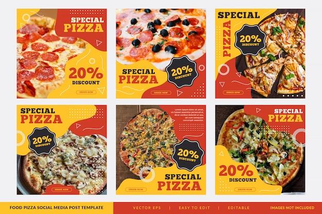 Colección de banner cuadrado de restaurante de pizza Vector Premium
