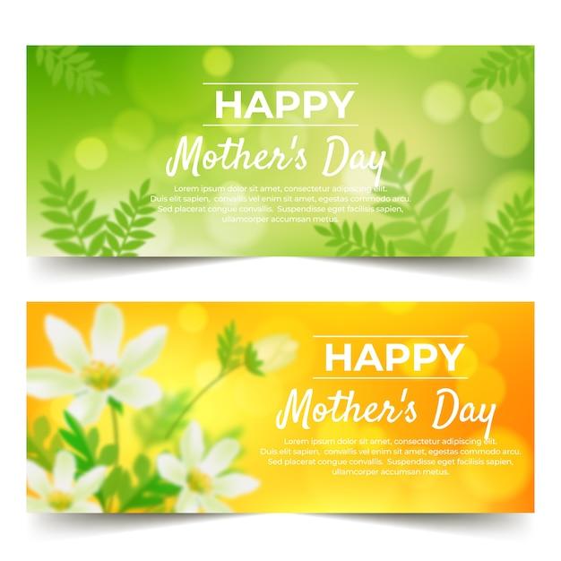 Colección de banner del día de las madres borrosas vector gratuito