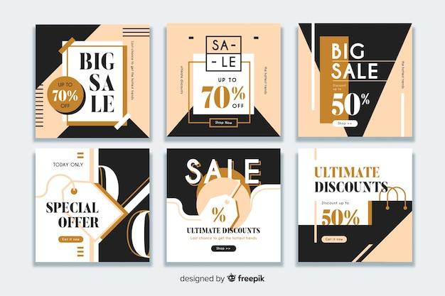 Colección de banner moderno de venta para redes sociales. vector gratuito