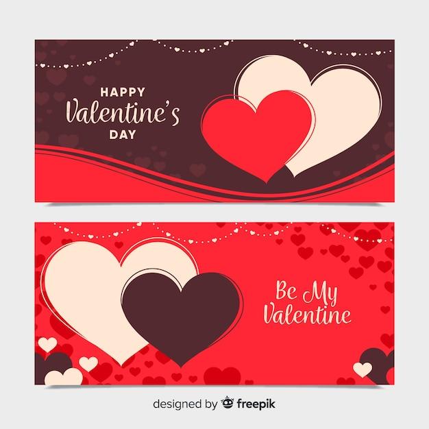 Colección Banner San Valentín Corazones Grandes Descargar Vectores