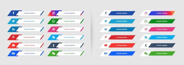 Colección de banner de tercio inferior de redes sociales populares vector gratuito