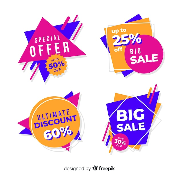 Colección de banner de ventas abstracto vector gratuito