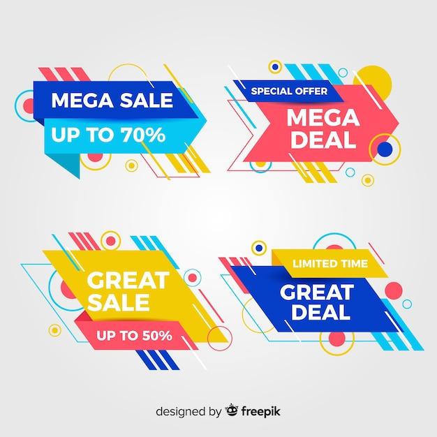 Colección de banners abstractos de ofertas especiales vector gratuito