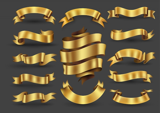 Colección de banners de cinta dorada Vector Premium