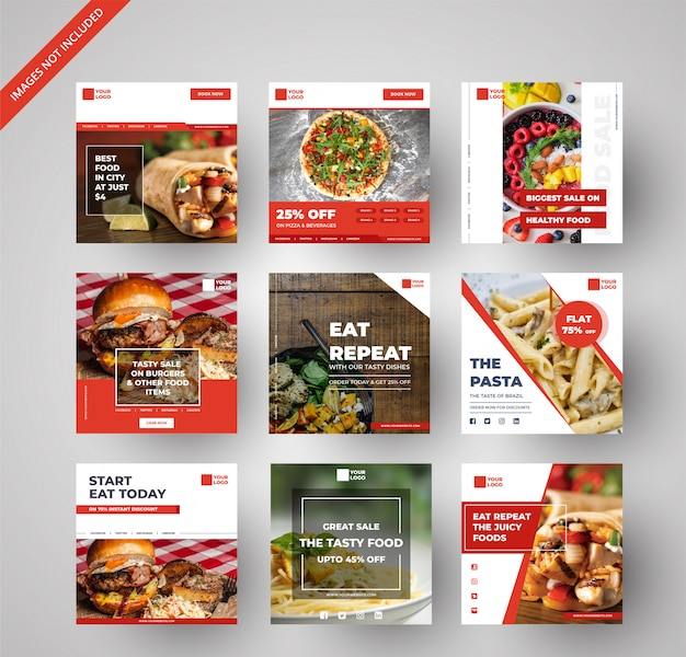 Colección de banners de comida y restaurante para marketing digital. Vector Premium