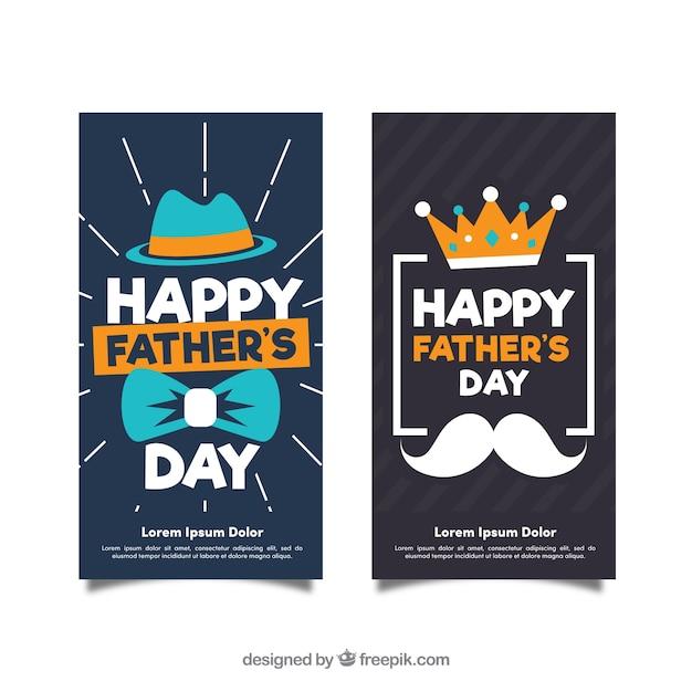 Colección de banners de día del padre con accesorios vector gratuito