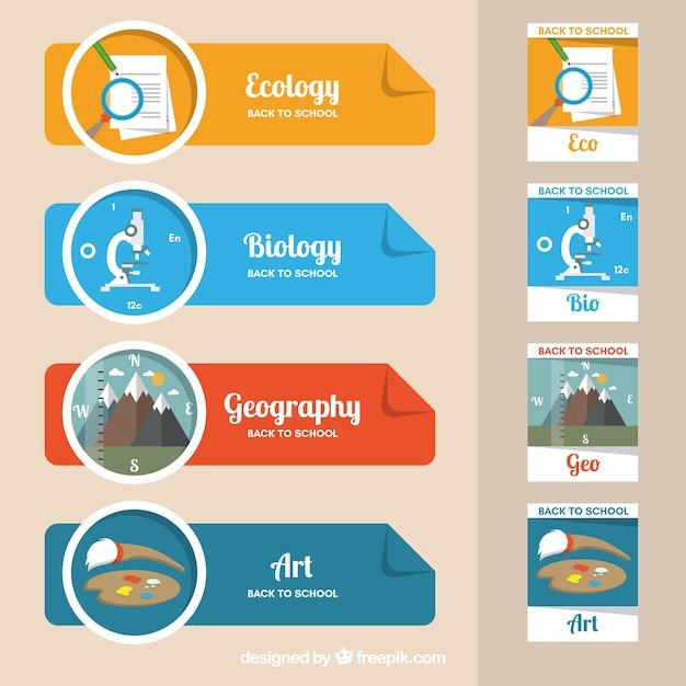 Colección de banners para diferentes asignaturas vector gratuito