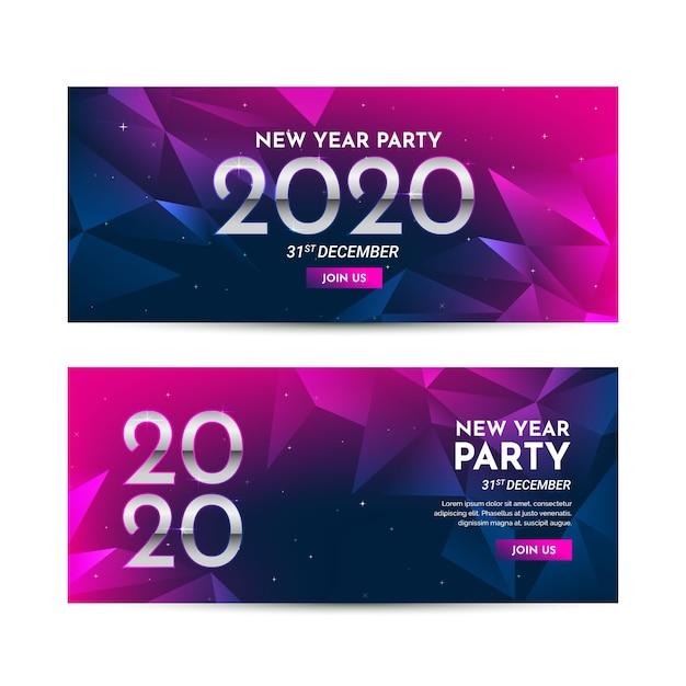 Colección de banners de fiesta de año nuevo 2020 de diseño plano vector gratuito