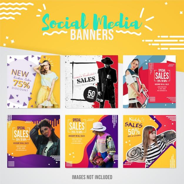 Colección de banners de medios sociales de ventas de moda moderna para usar en publicaciones de instagram para ofertas y ventas especiales Vector Premium