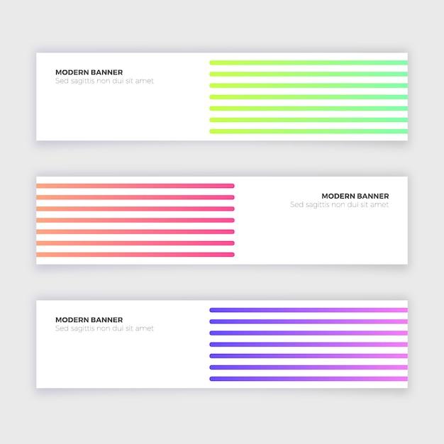 Colección de banners modernos abstractos con líneas vector gratuito