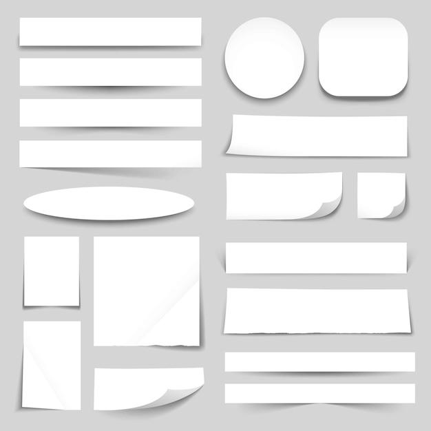 Colección de banners de papel en blanco blanco vector gratuito