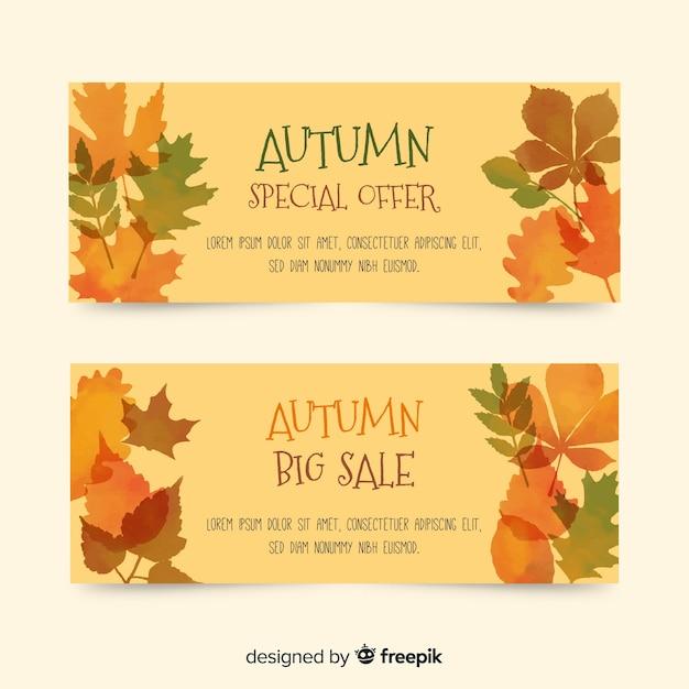 Colección de banners de rebajas de otoño en acuarela vector gratuito