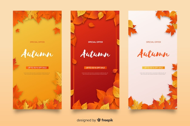 Colección de banners de rebajas de otoño en diseño plano vector gratuito