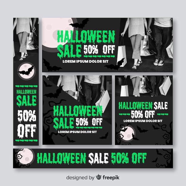 Colección de banners de rebajas web de halloween con foto vector gratuito