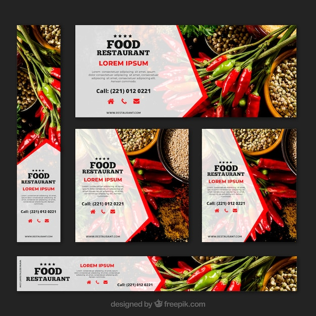 Colección de banners de restaurante de comida sana con fotos vector gratuito