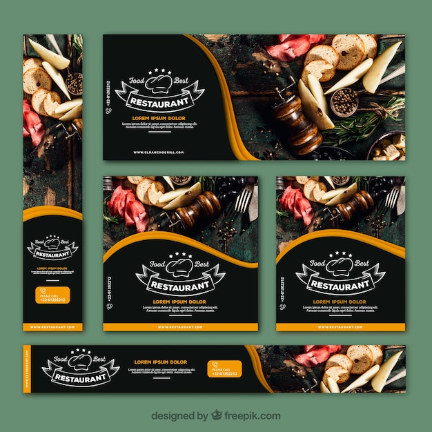 Colección de banners de restaurante elegante con fotos vector gratuito