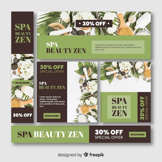 Colección de banners de spa con fotografía vector gratuito