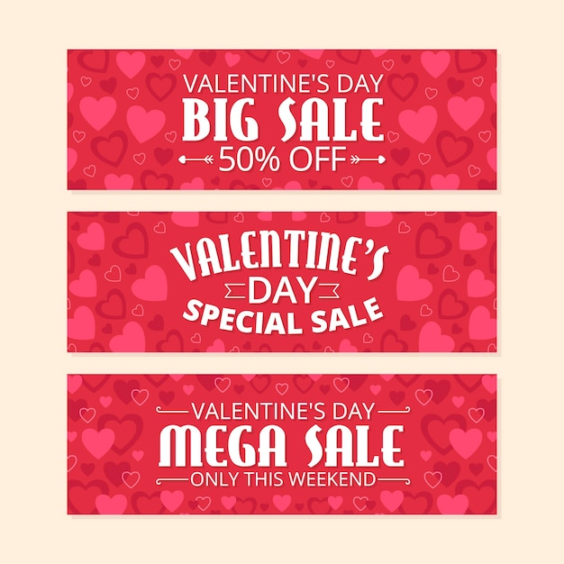 Colección de banners de venta del día de san valentín vector gratuito