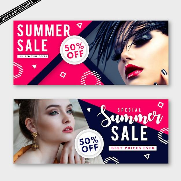 Colección de banners de venta de verano Vector Premium