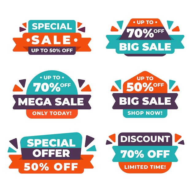 Colección de banners de ventas abstractas vector gratuito