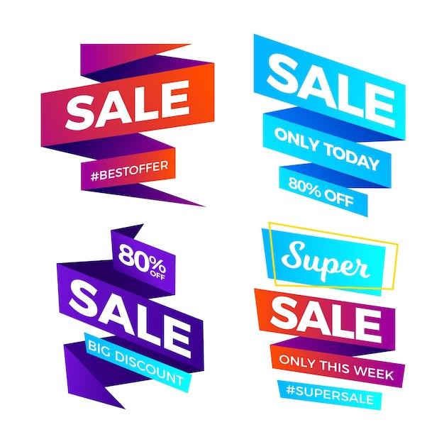 Colección de banners de ventas de cinta de degradado vector gratuito
