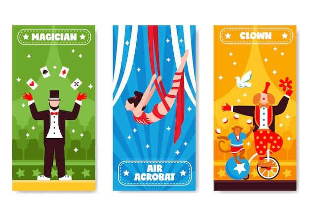 Colección de banners verticales de circo vector gratuito