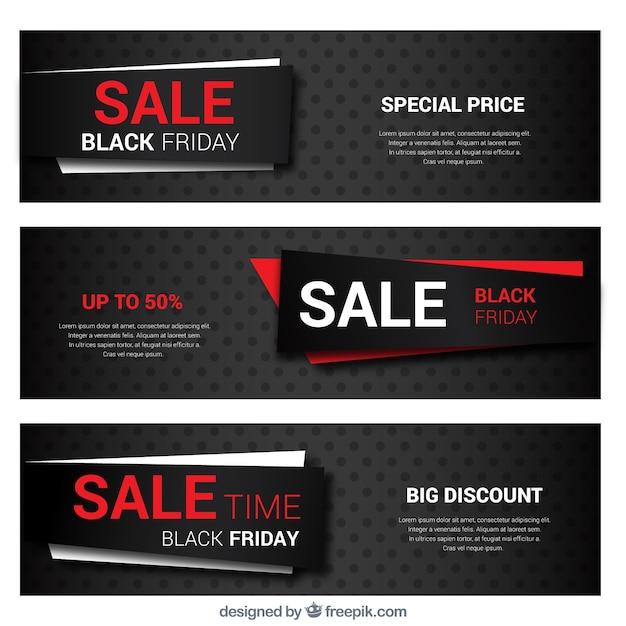 Colección de banners del viernes negro con detalles en rojo vector gratuito