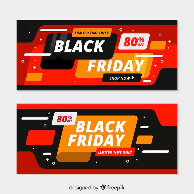 Colección de banners de viernes negro de diseño plano vector gratuito