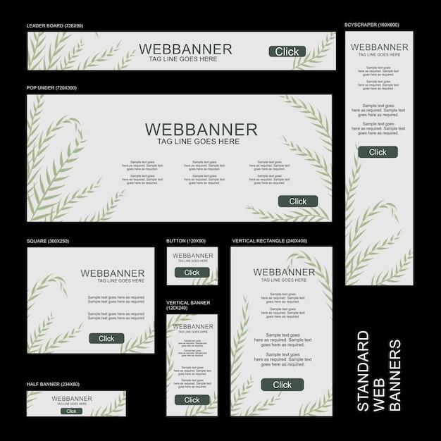 Colección de banners web - botánico Vector Premium