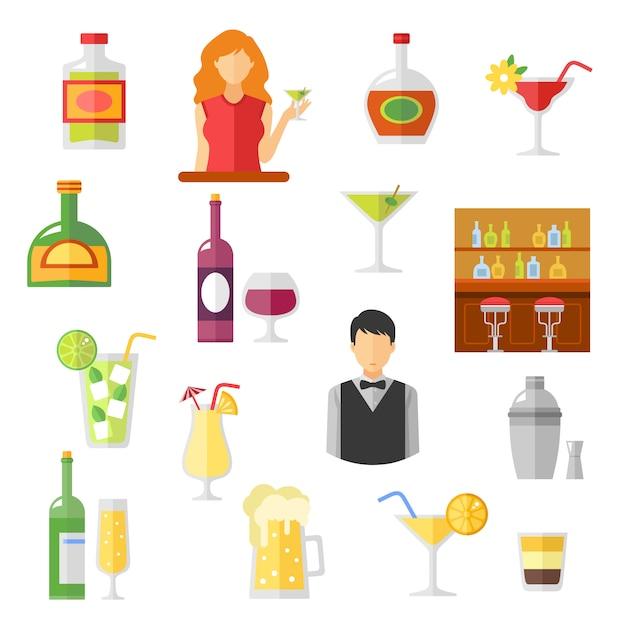 Colección bar flat icons vector gratuito