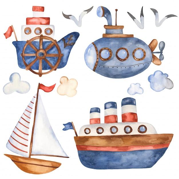 Colección de barcos de dibujos animados lindo Vector Premium
