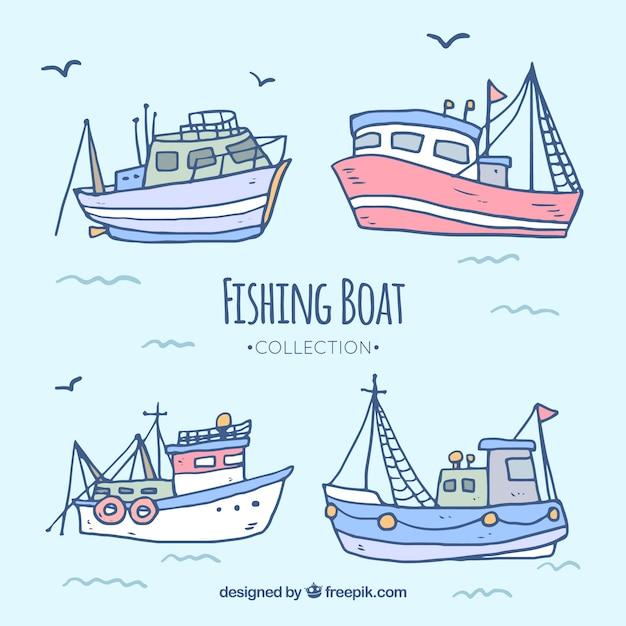 Colección De Barcos De Pesca Dibujados A Mano Descargar Vectores