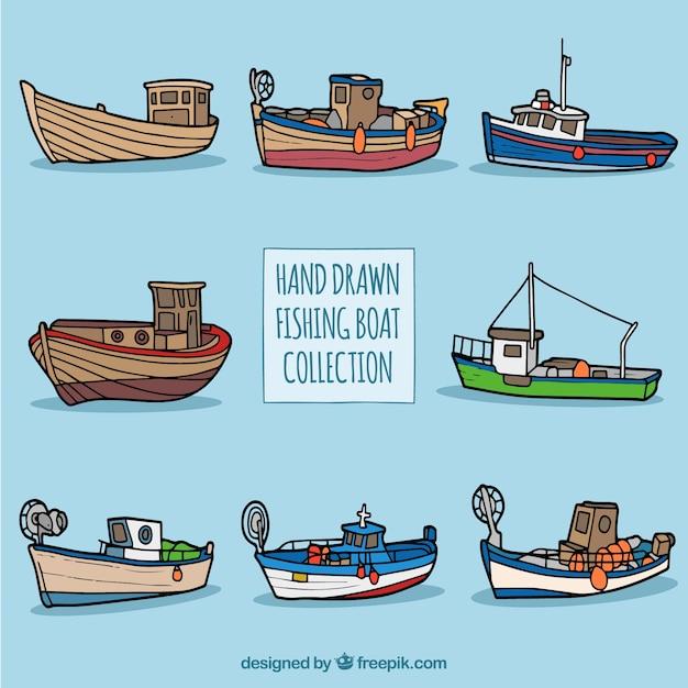 Colección De Barcos Pesqueros Dibujados A Mano Descargar Vectores