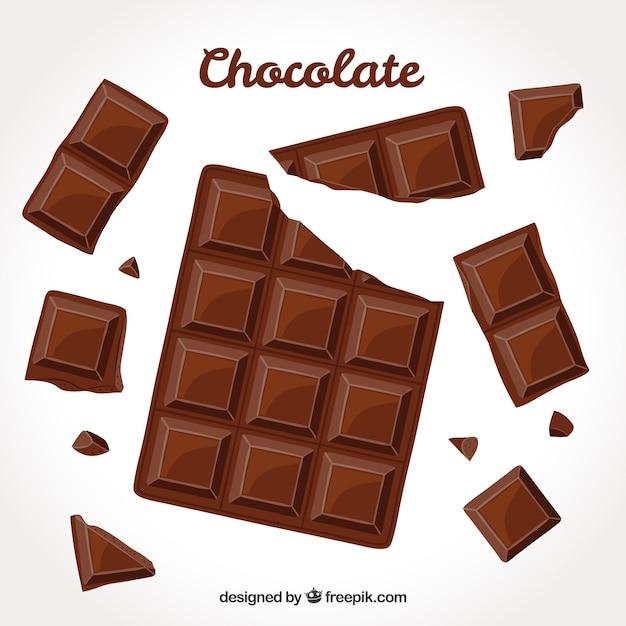 Colección de barras de barras y trozos de chocolate vector gratuito
