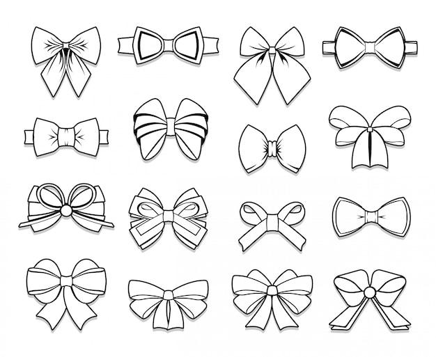 Colección beautiful bows elements vector gratuito