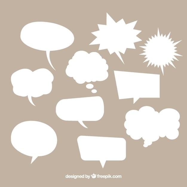 Colección de bocadillos de diálogo de cómic  de color blanco vector gratuito