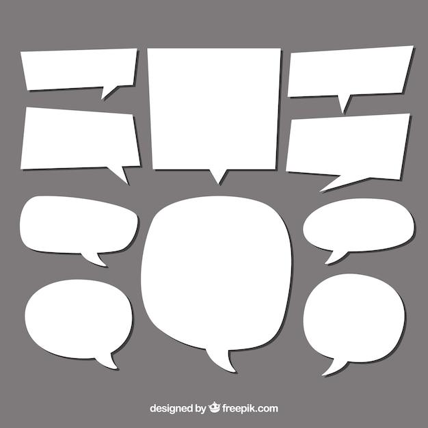 Colección de bocadillos de diálogo de diferente forma vector gratuito