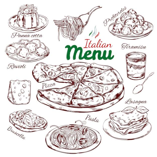 Colección de bocetos de comida italiana vector gratuito