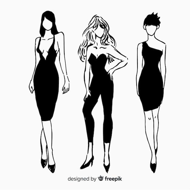 Colección de bocetos de modelos de moda Vector Premium