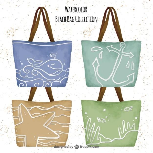 Colección de bolsas de la playa en acuarela vector gratuito