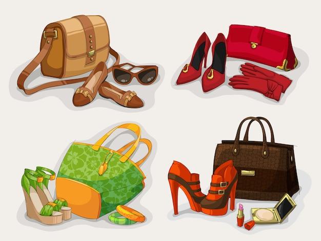 Colección de bolsos de mujer zapatos y accesorios. Vector Premium