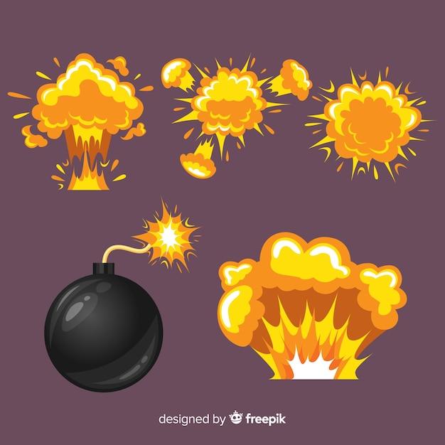 Colección bomba y efectos de explosiones dibujos animados Vector Premium