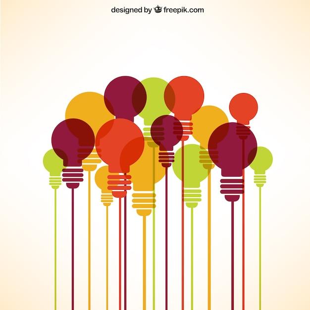 Colección de bombillas en diferentes colores vector gratuito