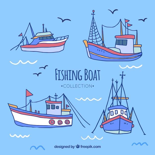 Colección De Bonitos Barcos Pesqueros Dibujados A Mano Descargar