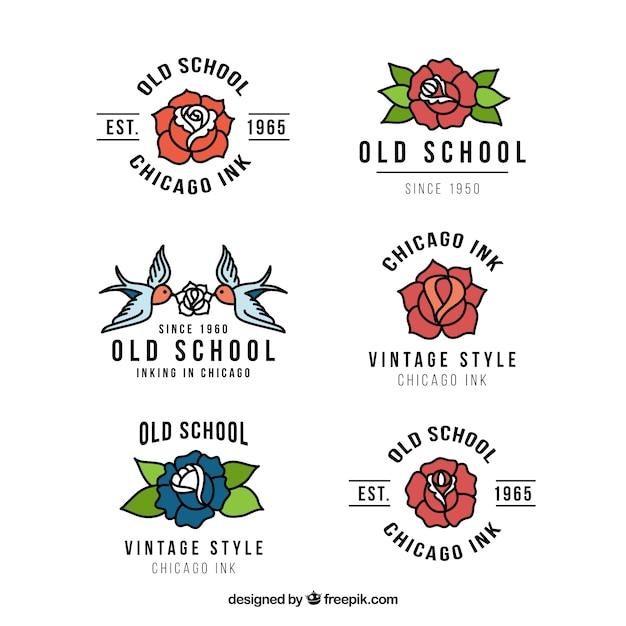 Colección de bonitos logos de estudio de tatuaje vector gratuito
