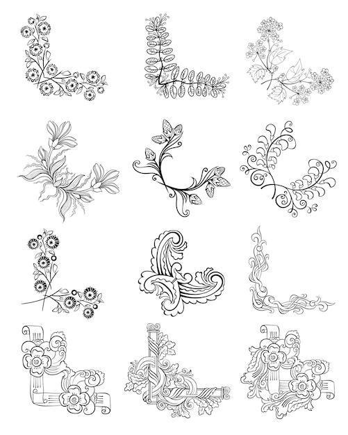 Colección de bordes de esquina florales decorativos de dibujo vector gratuito