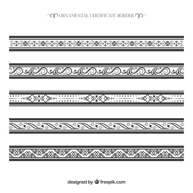 Colección de bordes ornamentales de certificado vector gratuito