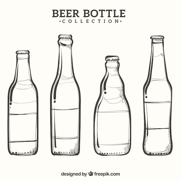 Colección de botellas de cerveza hechas a mano Vector Premium