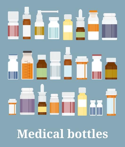 Colección de botellas de medicina. frascos de medicamentos, tabletas, cápsulas y aerosoles. ilustración vectorial vector gratuito