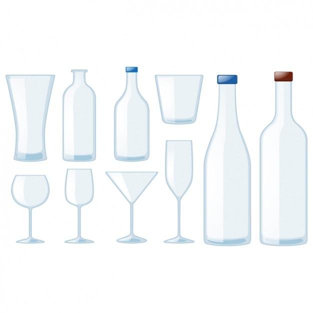 Colección botellas y vasos vector gratuito